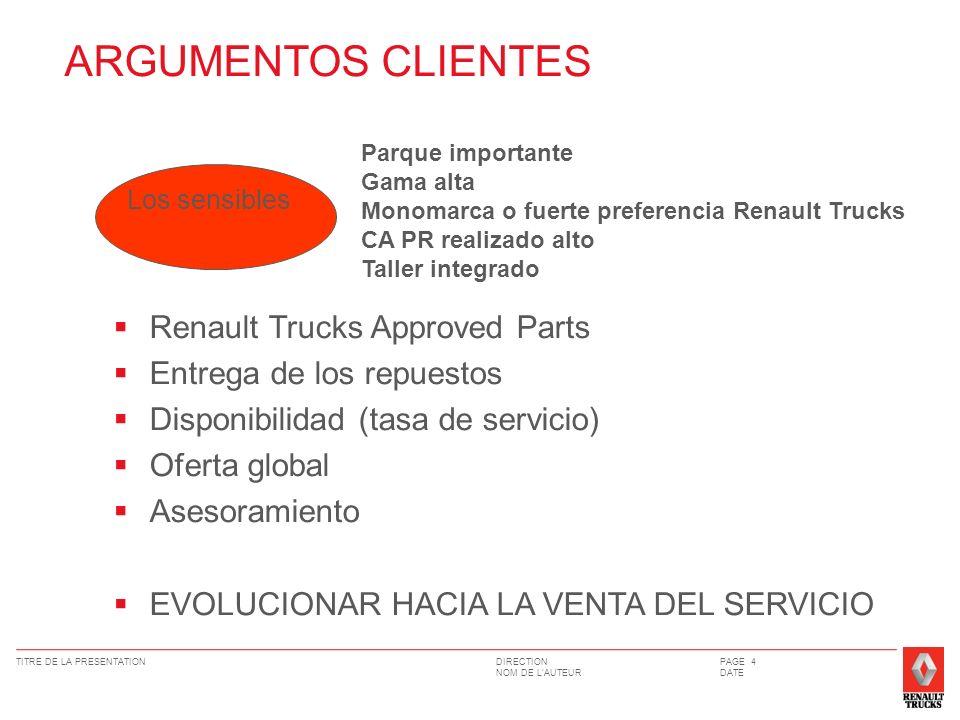 DIRECTION NOM DE LAUTEUR TITRE DE LA PRESENTATIONPAGE 4 DATE Los sensibles Parque importante Gama alta Monomarca o fuerte preferencia Renault Trucks C