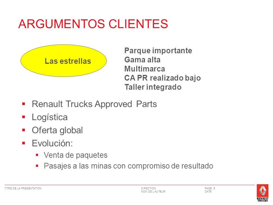 DIRECTION NOM DE LAUTEUR TITRE DE LA PRESENTATIONPAGE 5 DATE Renault Trucks Approved Parts Logística Oferta global Evolución: Venta de paquetes Pasaje