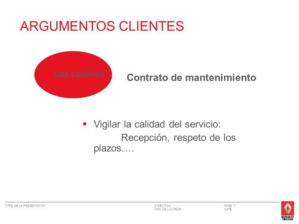 DIRECTION NOM DE LAUTEUR TITRE DE LA PRESENTATIONPAGE 7 DATE Vigilar la calidad del servicio: Recepción, respeto de los plazos…. Los cautivos Contrato