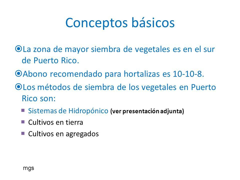 Conceptos básicos La zona de mayor siembra de vegetales es en el sur de Puerto Rico. Abono recomendado para hortalizas es 10-10-8. Los métodos de siem