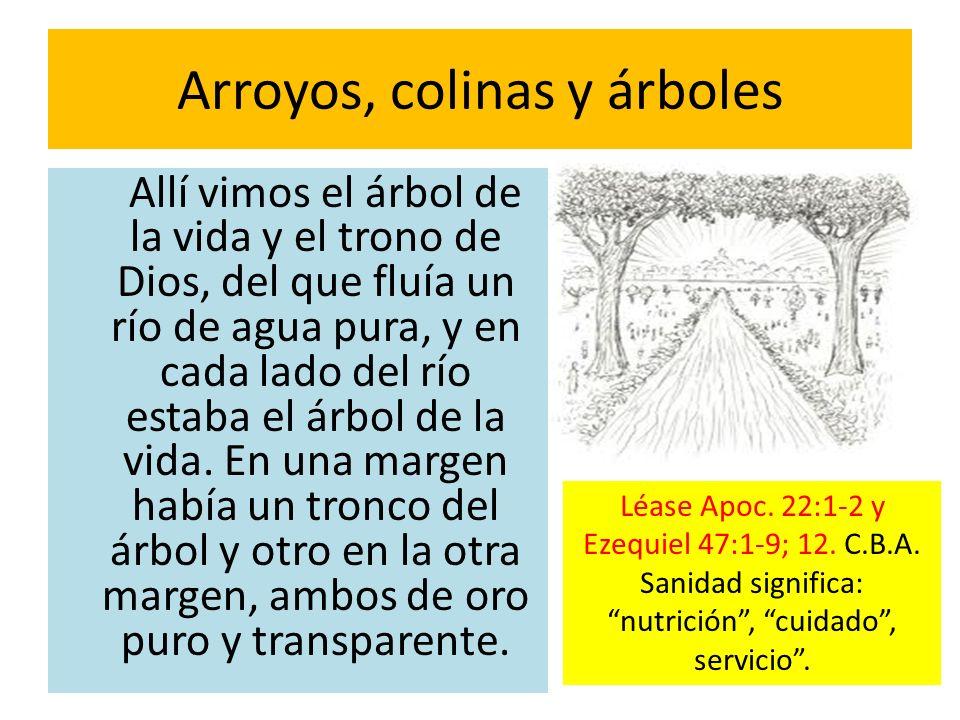 Arroyos, colinas y árboles Allí vimos el árbol de la vida y el trono de Dios, del que fluía un río de agua pura, y en cada lado del río estaba el árbo