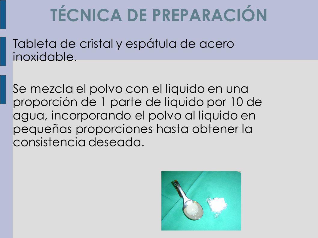 TÉCNICA DE PREPARACIÓN Tableta de cristal y espátula de acero inoxidable. Se mezcla el polvo con el liquido en una proporción de 1 parte de liquido po