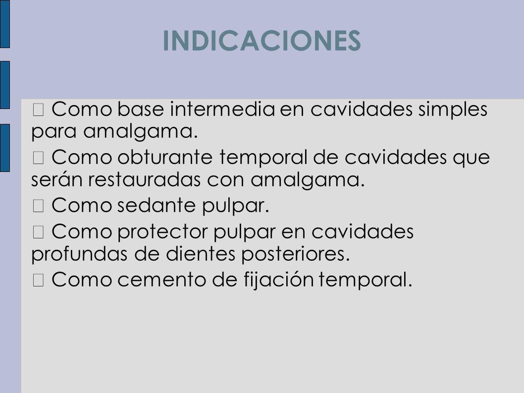 INDICACIONES Como base intermedia en cavidades simples para amalgama. Como obturante temporal de cavidades que serán restauradas con amalgama. Como se