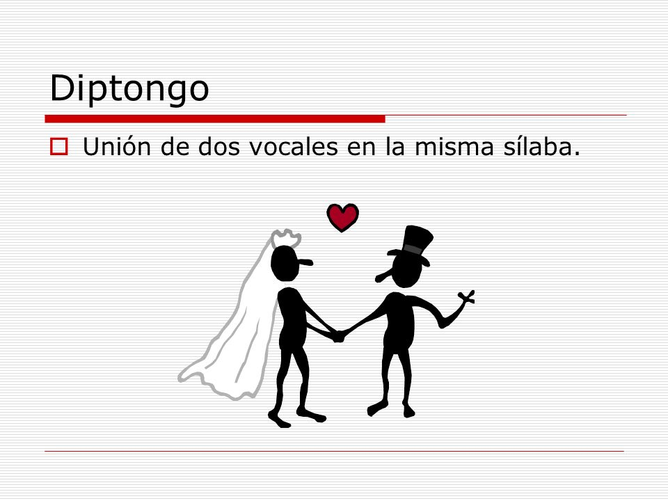 Diptongo Está compuesto de dos vocales débiles Ruido Luis O una vocal débil y una fuerte Puerta Incendio