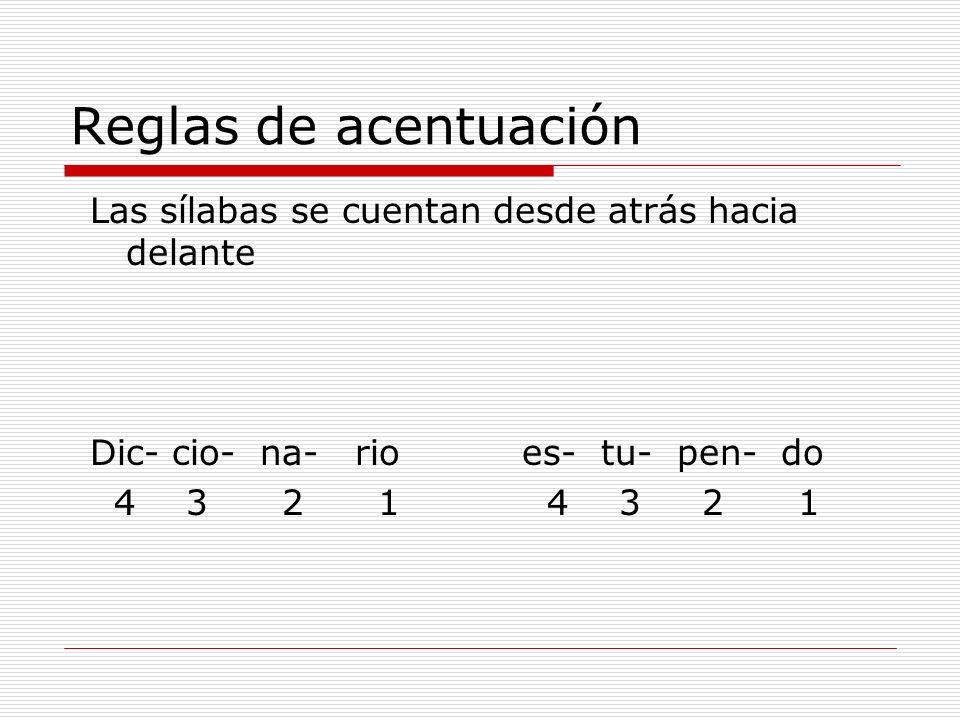 Reglas de acentuación Las sílabas se cuentan desde atrás hacia delante Dic- cio- na- rio es- tu- pen- do 4321 4 3 2 1