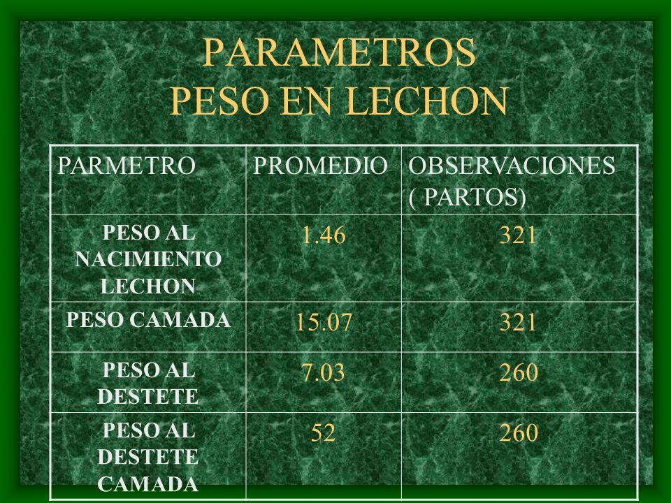PARAMETROS PESO EN LECHON PARMETROPROMEDIOOBSERVACIONES ( PARTOS) PESO AL NACIMIENTO LECHON 1.46321 PESO CAMADA 15.07321 PESO AL DESTETE 7.03260 PESO