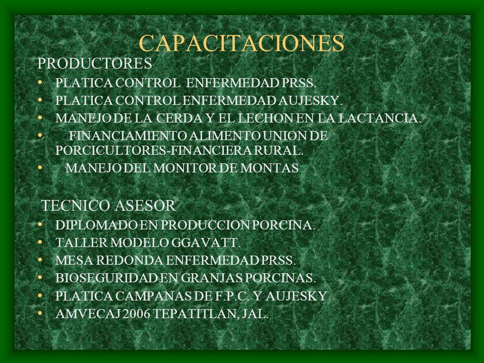 CAPACITACIONES PRODUCTORES PLATICA CONTROL ENFERMEDAD PRSS. PLATICA CONTROL ENFERMEDAD AUJESKY. MANEJO DE LA CERDA Y EL LECHON EN LA LACTANCIA. FINANC