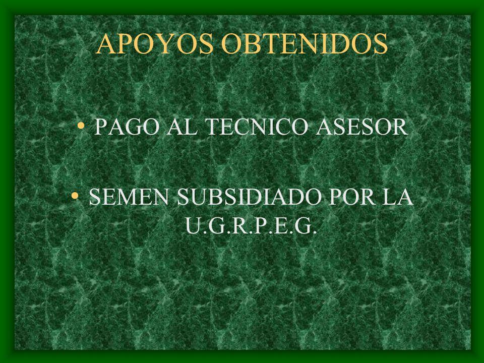 APOYOS OBTENIDOS PAGO AL TECNICO ASESOR SEMEN SUBSIDIADO POR LA U.G.R.P.E.G.