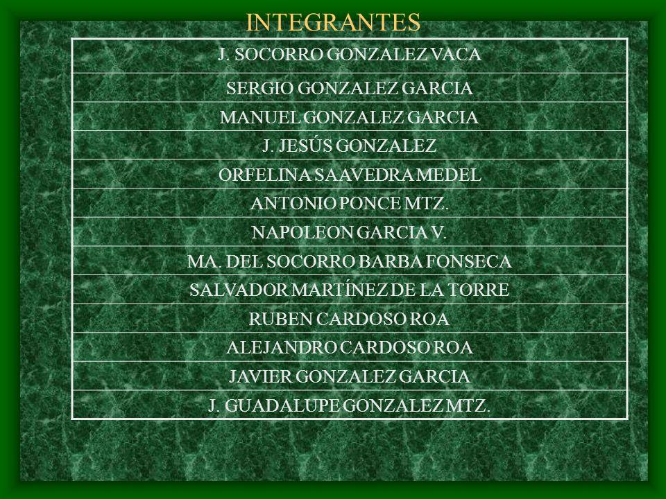 INTEGRANTES J. SOCORRO GONZALEZ VACA SERGIO GONZALEZ GARCIA MANUEL GONZALEZ GARCIA J. JESÚS GONZALEZ ORFELINA SAAVEDRA MEDEL ANTONIO PONCE MTZ. NAPOLE