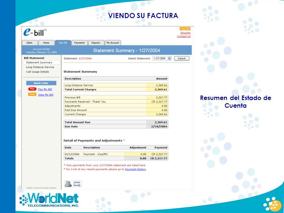 Resumen del Estado de Cuenta VIENDO SU FACTURA
