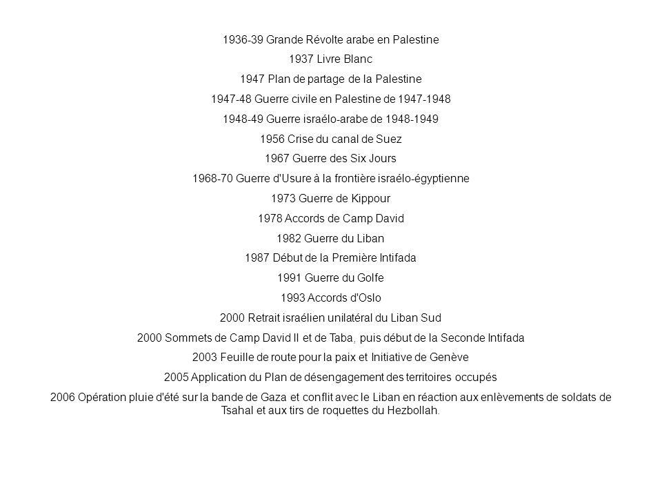1936-39 Grande Révolte arabe en Palestine 1937 Livre Blanc 1947 Plan de partage de la Palestine 1947-48 Guerre civile en Palestine de 1947-1948 1948-4