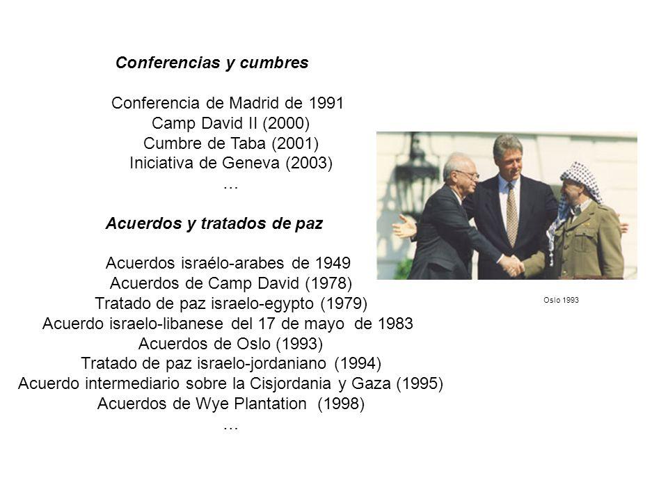 Conferencias y cumbres Conferencia de Madrid de 1991 Camp David II (2000) Cumbre de Taba (2001) Iniciativa de Geneva (2003) … Acuerdos y tratados de p