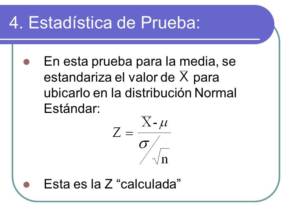 4. Estadística de Prueba: En esta prueba para la media, se estandariza el valor de para ubicarlo en la distribución Normal Estándar: Esta es la Z calc