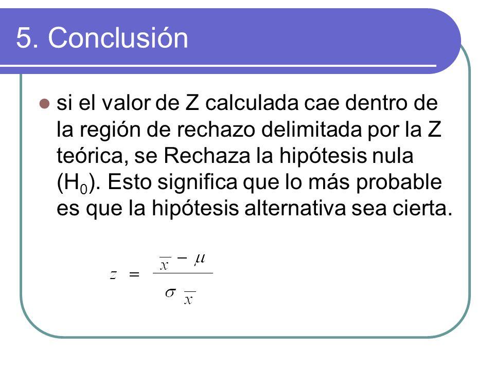 5. Conclusión si el valor de Z calculada cae dentro de la región de rechazo delimitada por la Z teórica, se Rechaza la hipótesis nula (H 0 ). Esto sig