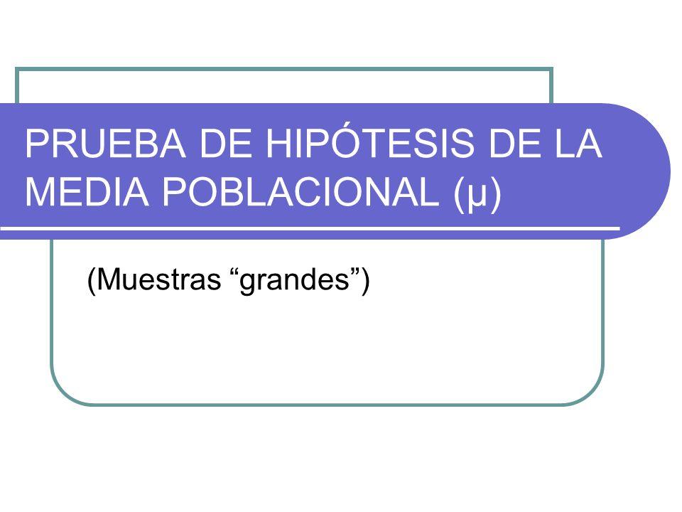 PRUEBA DE HIPÓTESIS DE LA MEDIA POBLACIONAL (μ) (Muestras grandes)