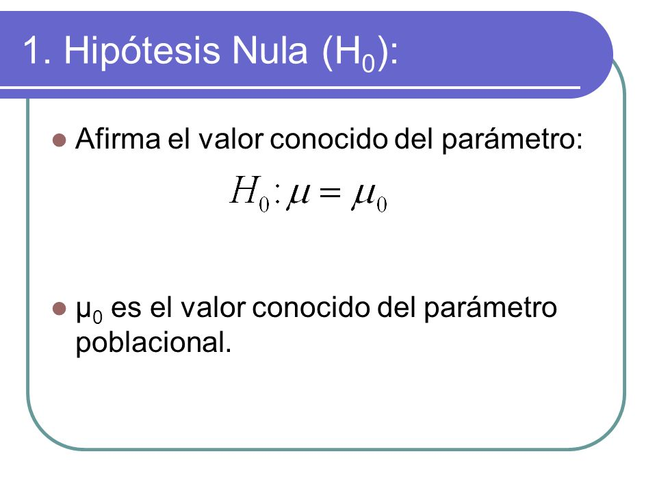 1. Hipótesis Nula (H 0 ): Afirma el valor conocido del parámetro: μ 0 es el valor conocido del parámetro poblacional.