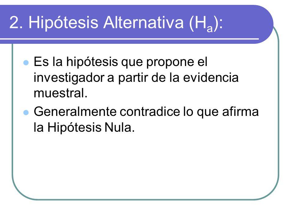 2. Hipótesis Alternativa (H a ): Es la hipótesis que propone el investigador a partir de la evidencia muestral. Generalmente contradice lo que afirma