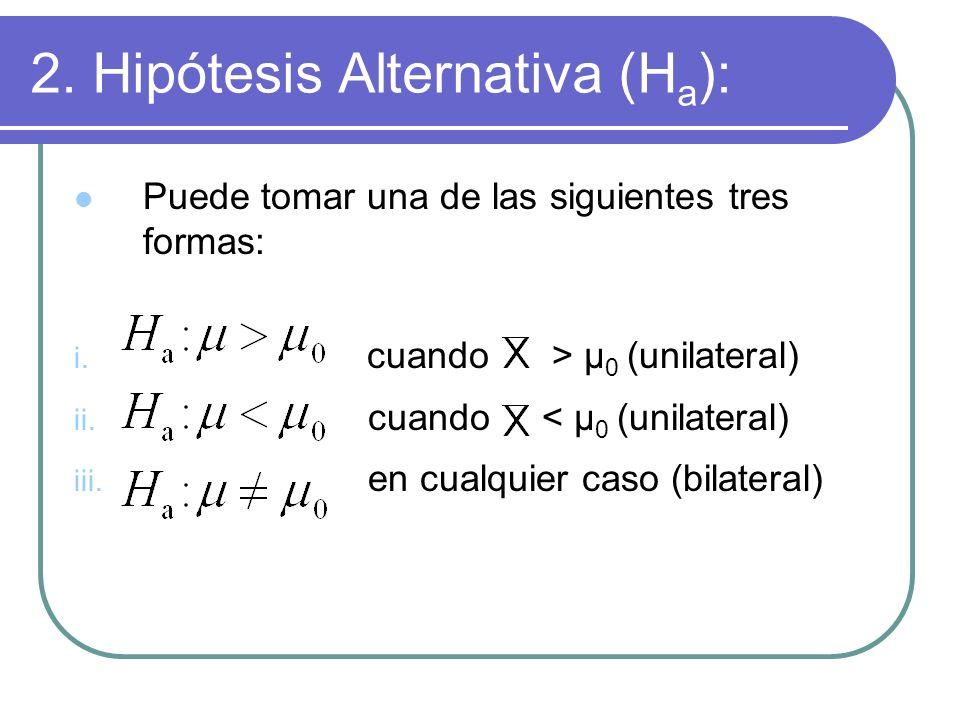 2. Hipótesis Alternativa (H a ): Puede tomar una de las siguientes tres formas: i. cuando > μ 0 (unilateral) ii. cuando < μ 0 (unilateral) iii. en cua