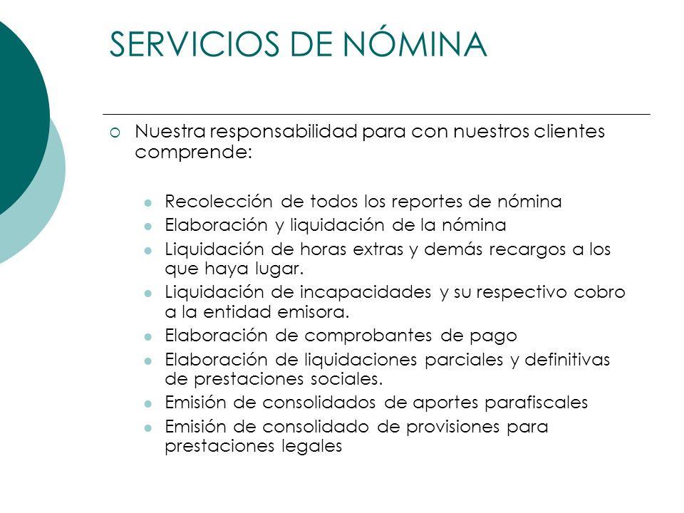 Nuestra responsabilidad para con nuestros clientes comprende: Recolección de todos los reportes de nómina Elaboración y liquidación de la nómina Liqui
