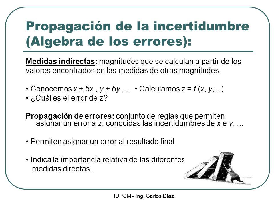 IUPSM - Ing. Carlos Díaz Propagación de la incertidumbre (Algebra de los errores): Medidas indirectas: magnitudes que se calculan a partir de los valo