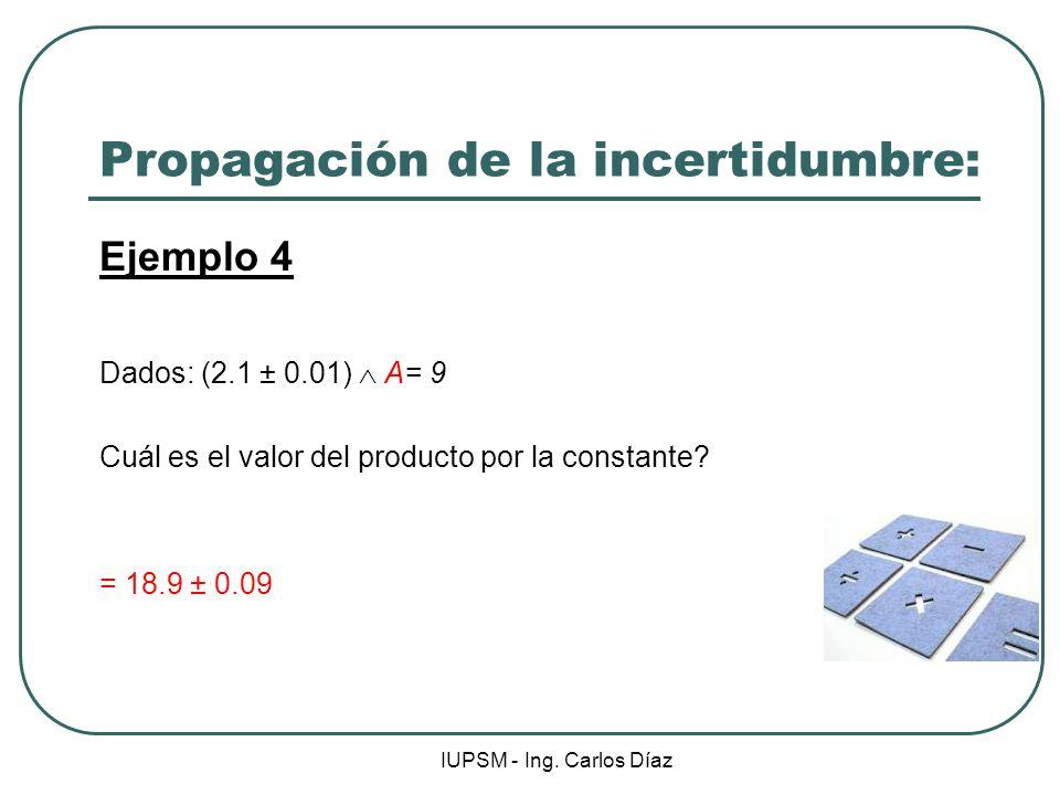 IUPSM - Ing. Carlos Díaz Propagación de la incertidumbre: Ejemplo 4 Dados: (2.1 ± 0.01) A= 9 Cuál es el valor del producto por la constante? = 18.9 ±