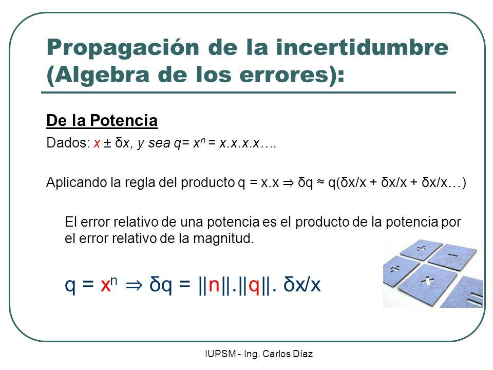 IUPSM - Ing. Carlos Díaz Propagación de la incertidumbre (Algebra de los errores): De la Potencia Dados: x ± δx, y sea q= x n = x.x.x.x…. Aplicando la