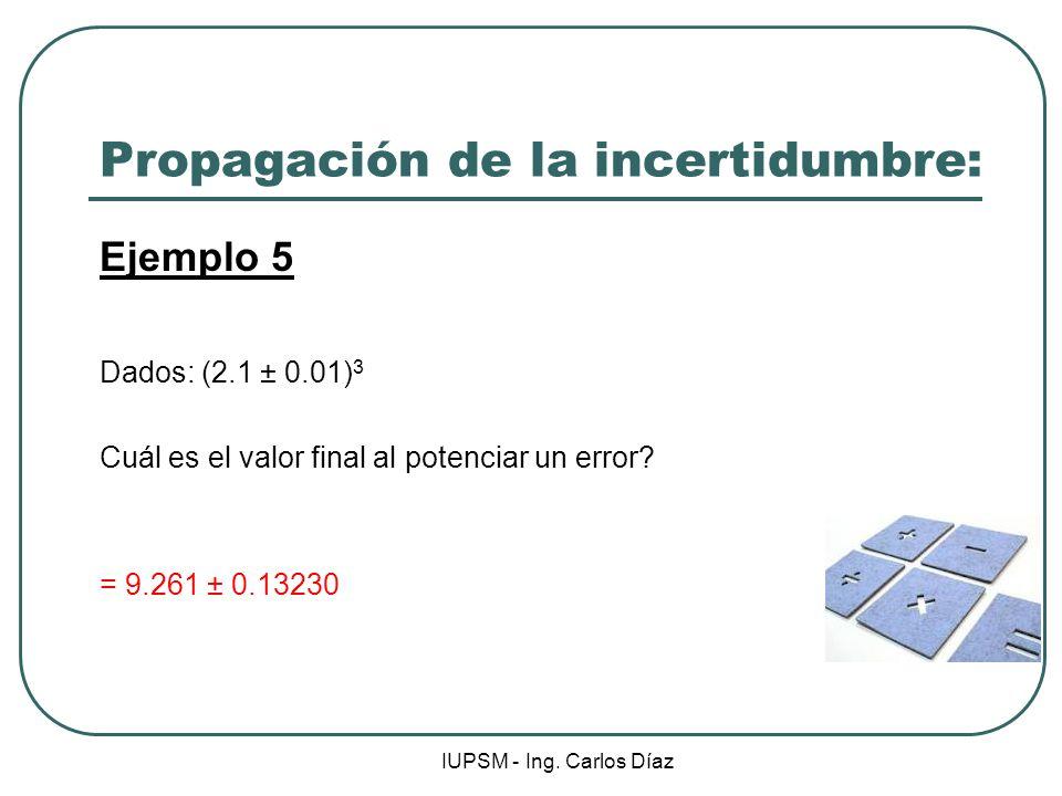 IUPSM - Ing. Carlos Díaz Propagación de la incertidumbre: Ejemplo 5 Dados: (2.1 ± 0.01) 3 Cuál es el valor final al potenciar un error? = 9.261 ± 0.13