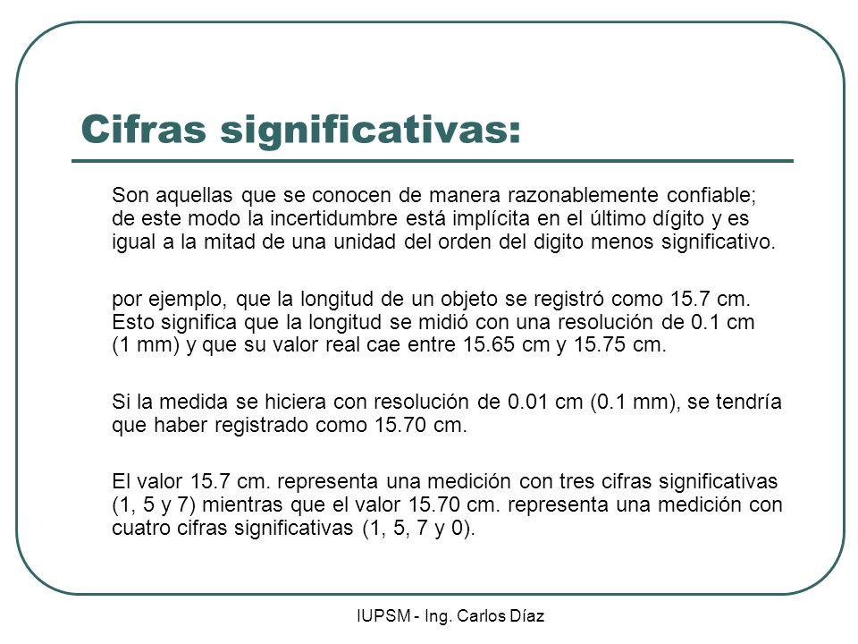 IUPSM - Ing. Carlos Díaz Cifras significativas: Son aquellas que se conocen de manera razonablemente confiable; de este modo la incertidumbre está imp