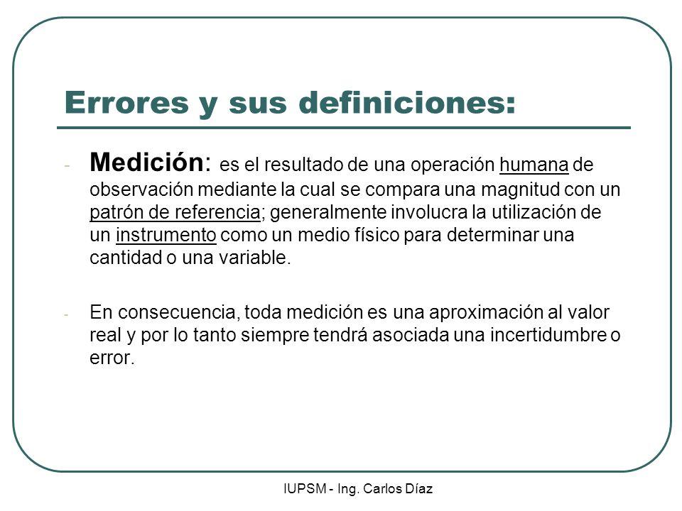 IUPSM - Ing. Carlos Díaz Errores y sus definiciones: - Medición: es el resultado de una operación humana de observación mediante la cual se compara un