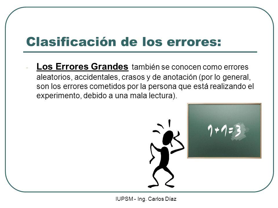 IUPSM - Ing. Carlos Díaz Clasificación de los errores: - Los Errores Grandes también se conocen como errores aleatorios, accidentales, crasos y de ano