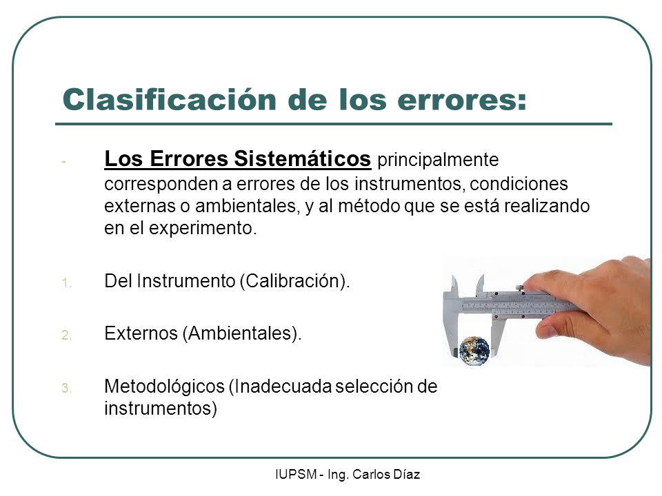 IUPSM - Ing. Carlos Díaz Clasificación de los errores: - Los Errores Sistemáticos principalmente corresponden a errores de los instrumentos, condicion