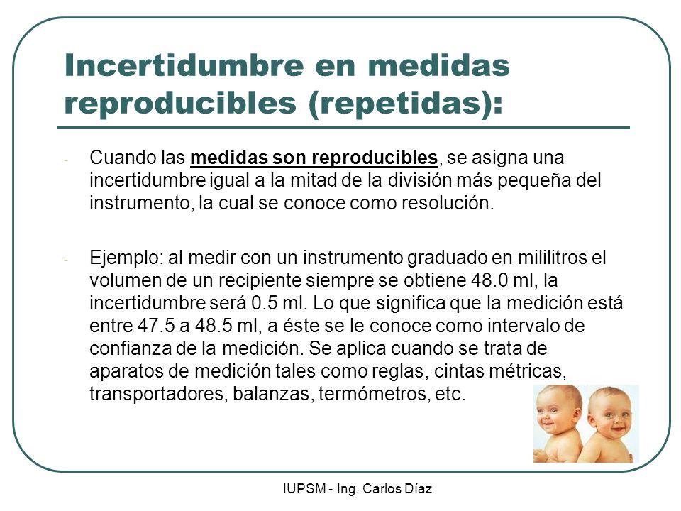 IUPSM - Ing. Carlos Díaz Incertidumbre en medidas reproducibles (repetidas): - Cuando las medidas son reproducibles, se asigna una incertidumbre igual