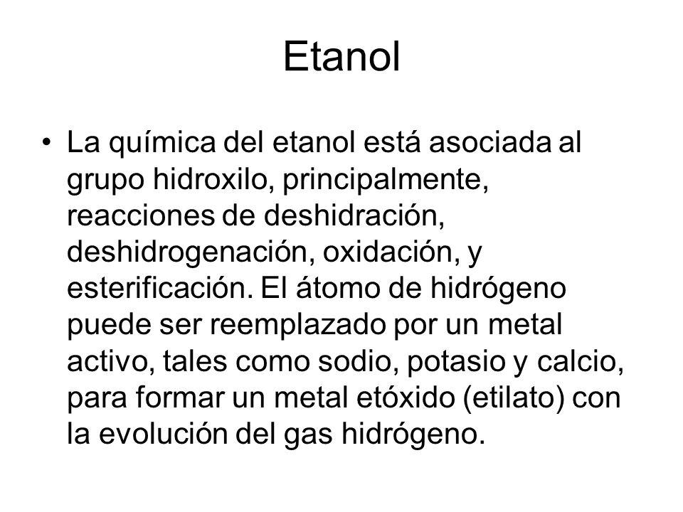 Etanol La química del etanol está asociada al grupo hidroxilo, principalmente, reacciones de deshidración, deshidrogenación, oxidación, y esterificaci