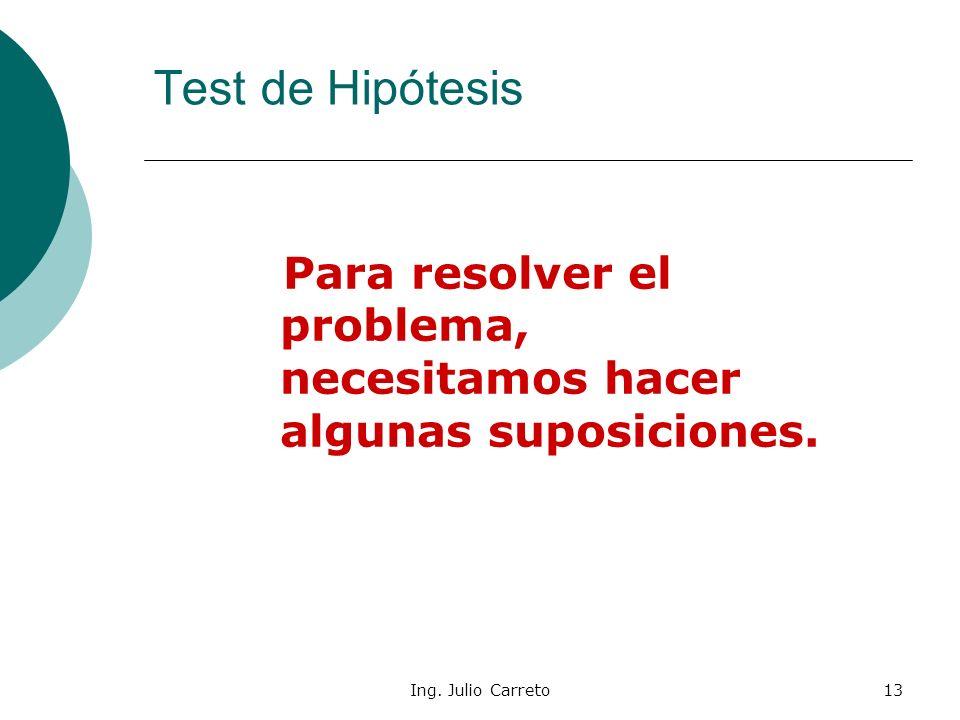 Ing. Julio Carreto12 Test de Hipótesis Se necesita, entonces, un criterio para decidir si el nuevo fertilizante produce una mejora en el rendimiento.