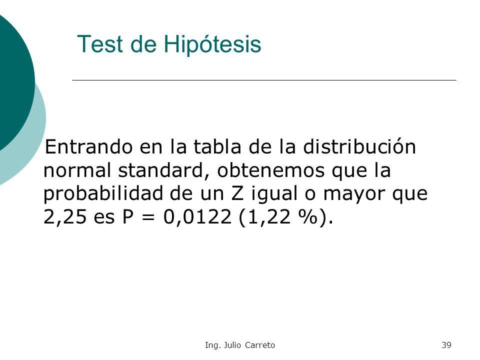 Ing. Julio Carreto38 En nuestro ejemplo: Test de Hipótesis