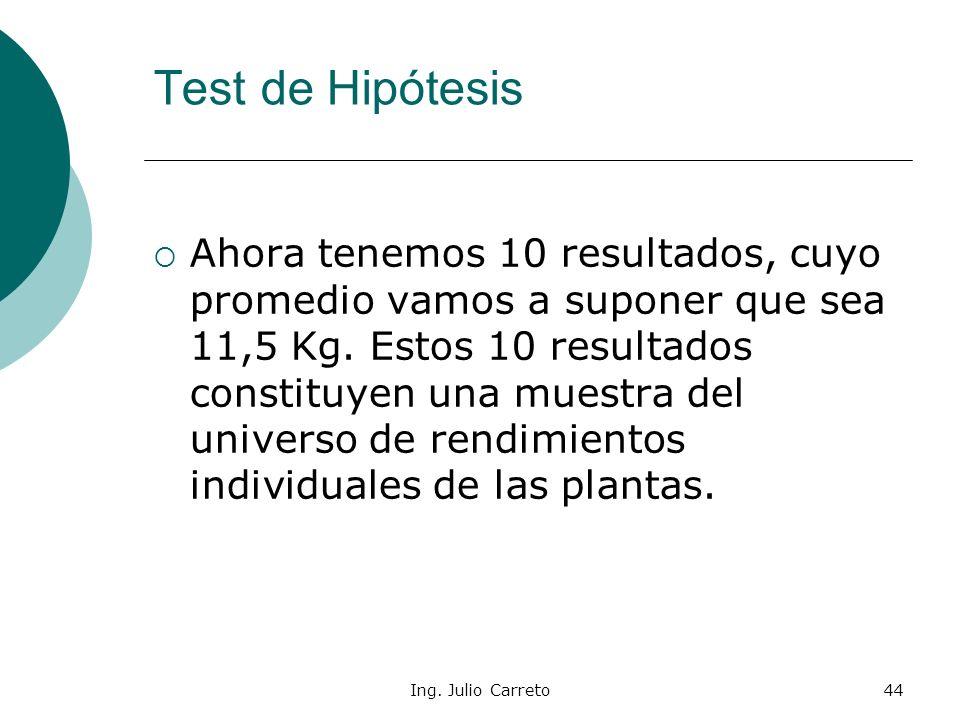 Ing. Julio Carreto43 Las hipótesis a contrastar son las mismas, pero el cálculo es algo diferente. Test de Hipótesis