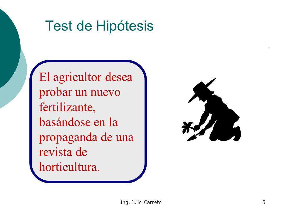 Ing. Julio Carreto4 Supongamos que en una huerta se cultivan tomates en un terreno donde hay sembradas 300 plantas de tomates, utilizando un determina