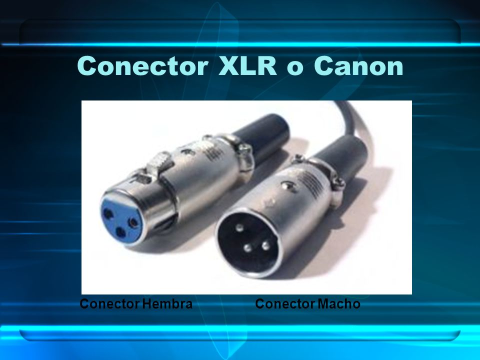 Conector XLR o Canon Conector Hembra Conector Macho