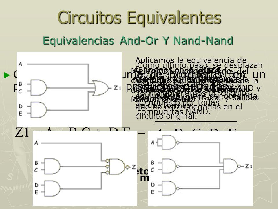 Circuitos Equivalentes Equivalencias Or-And y Nor-Nor Z = (P + Q) · (R + S) · T = A partir de un circuito determinado, su función equivalente puede ser obtenida de dos formas: Primer método Negamos ambos extremos del cable, que por la propiedad de la doble negación no afecta la función original.