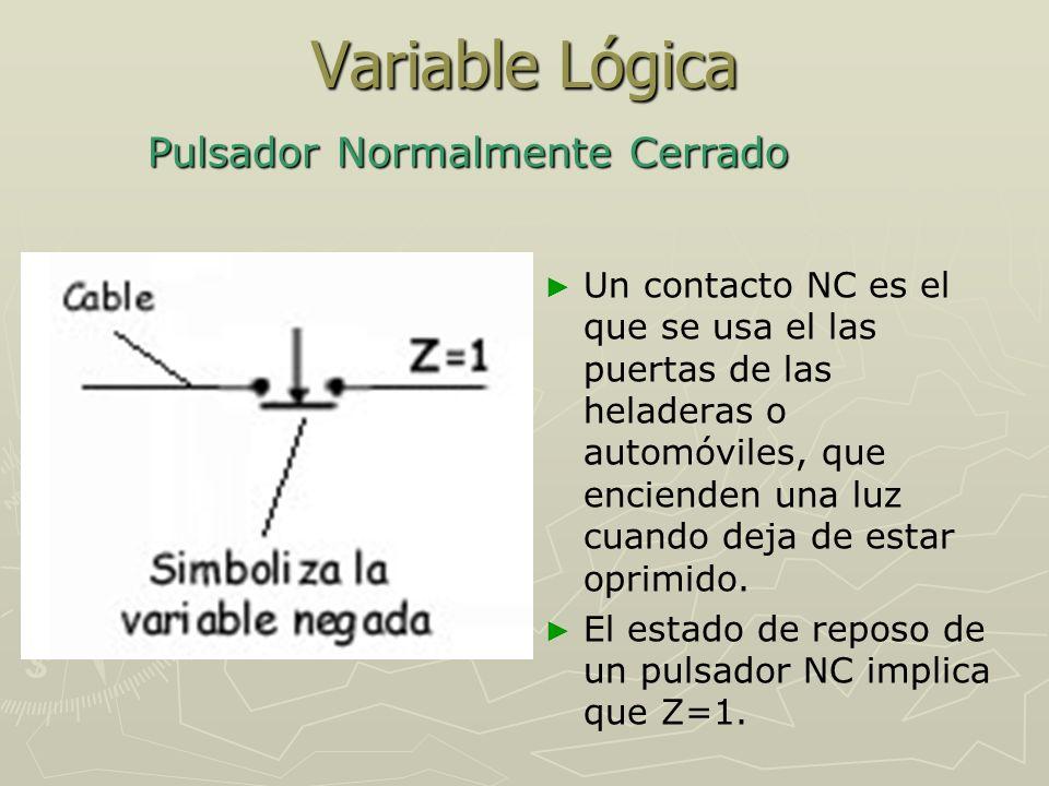 Variable Lógica Al accionar el pulsador, deja de pasar corriente eléctrica por el cable.
