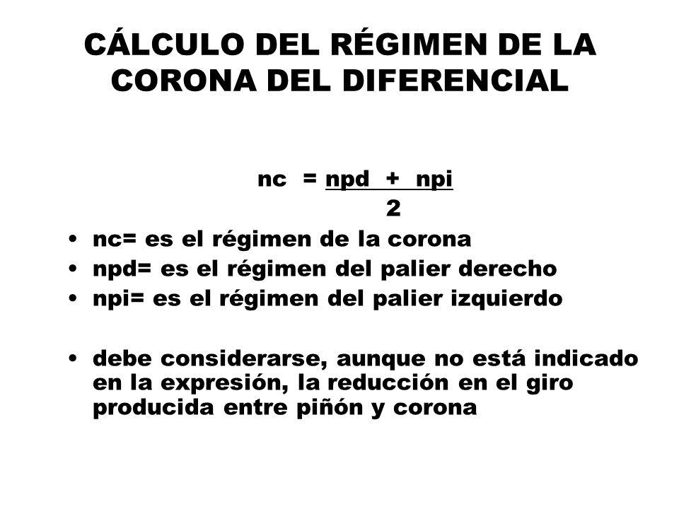 CÁLCULO DEL RÉGIMEN DE LA CORONA DEL DIFERENCIAL nc = npd + npi 2 nc= es el régimen de la corona npd= es el régimen del palier derecho npi= es el régi