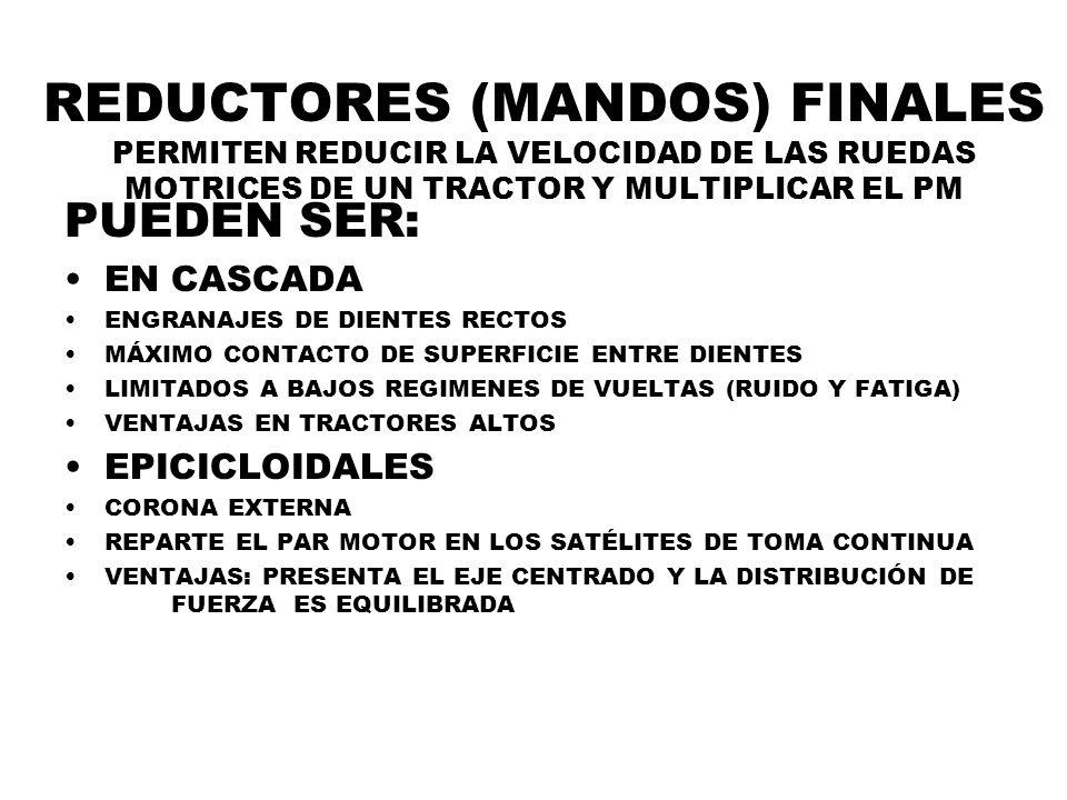 REDUCTORES (MANDOS) FINALES PERMITEN REDUCIR LA VELOCIDAD DE LAS RUEDAS MOTRICES DE UN TRACTOR Y MULTIPLICAR EL PM PUEDEN SER: EN CASCADA ENGRANAJES D