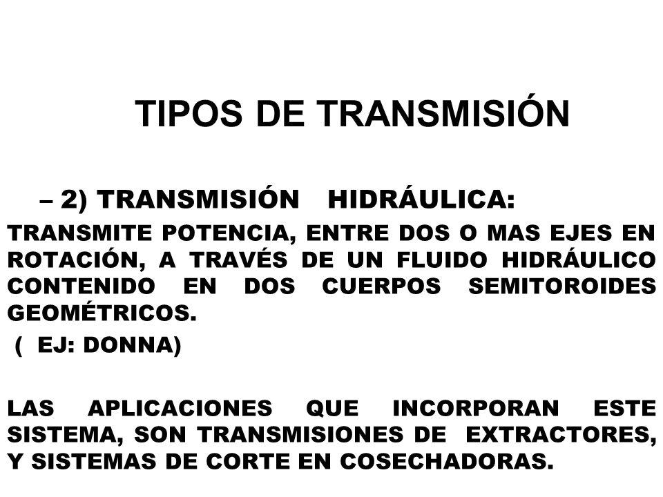TIPOS DE TRANSMISIÓN –2) TRANSMISIÓN HIDRÁULICA: TRANSMITE POTENCIA, ENTRE DOS O MAS EJES EN ROTACIÓN, A TRAVÉS DE UN FLUIDO HIDRÁULICO CONTENIDO EN D