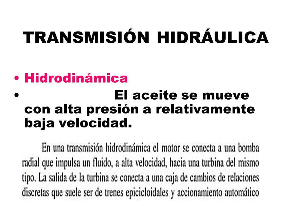 TRANSMISIÓN HIDRÁULICA Hidrodinámica El aceite se mueve con alta presión a relativamente baja velocidad.