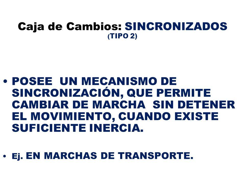 Caja de Cambios: SINCRONIZADOS ( TIPO 2) POSEE UN MECANISMO DE SINCRONIZACIÓN, QUE PERMITE CAMBIAR DE MARCHA SIN DETENER EL MOVIMIENTO, CUANDO EXISTE