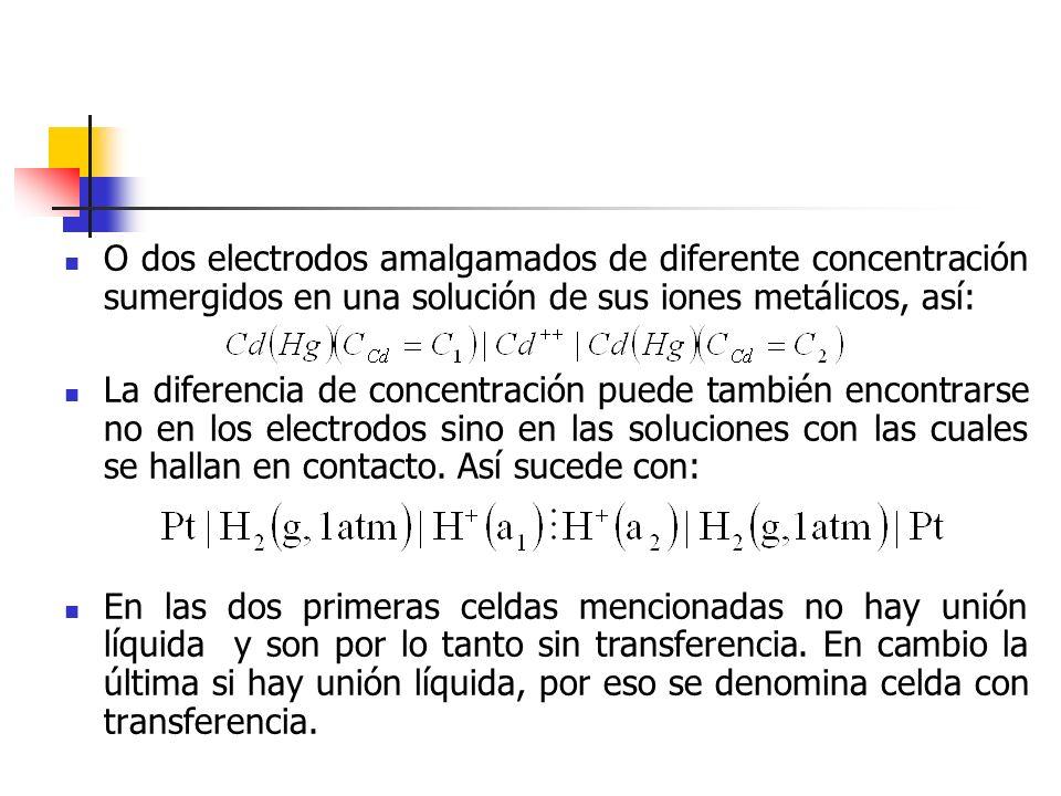 O dos electrodos amalgamados de diferente concentración sumergidos en una solución de sus iones metálicos, así: La diferencia de concentración puede t