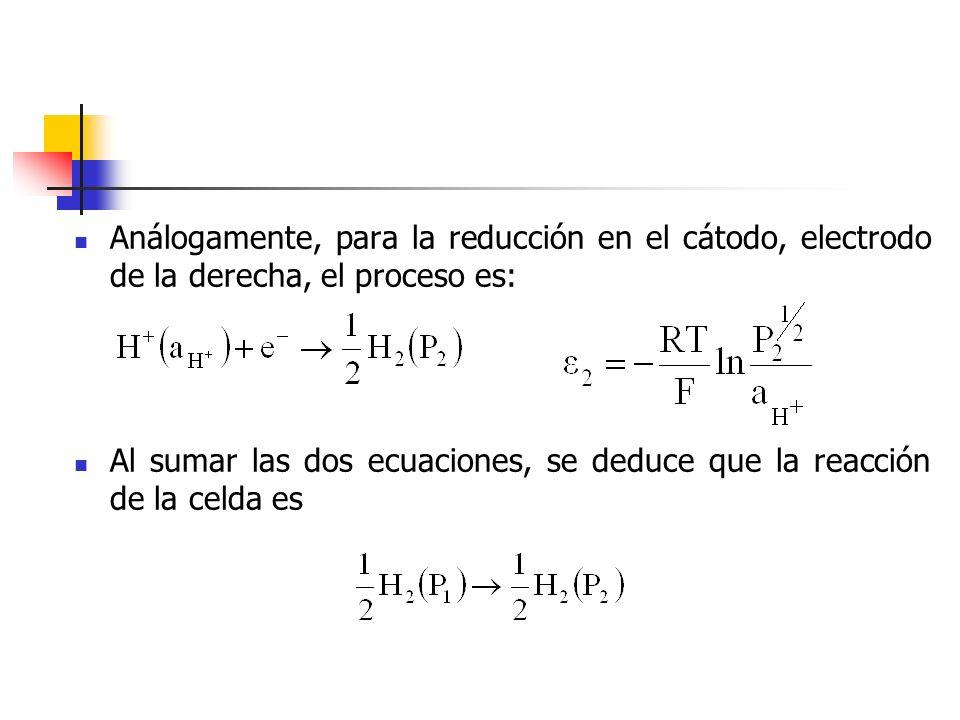 Análogamente, para la reducción en el cátodo, electrodo de la derecha, el proceso es: Al sumar las dos ecuaciones, se deduce que la reacción de la cel