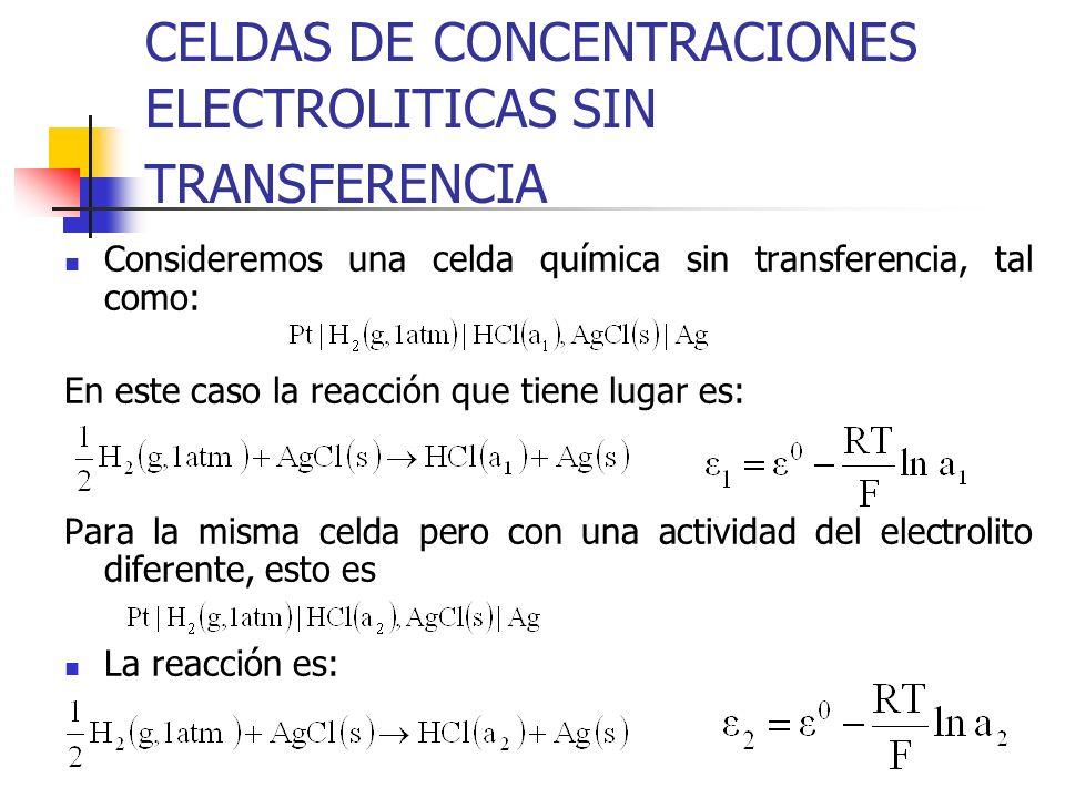 CELDAS DE CONCENTRACIONES ELECTROLITICAS SIN TRANSFERENCIA Consideremos una celda química sin transferencia, tal como: En este caso la reacción que ti