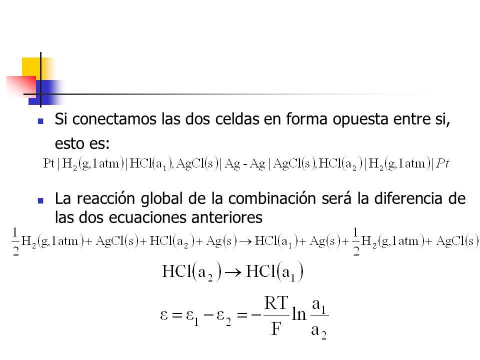 Si conectamos las dos celdas en forma opuesta entre si, esto es: La reacción global de la combinación será la diferencia de las dos ecuaciones anterio