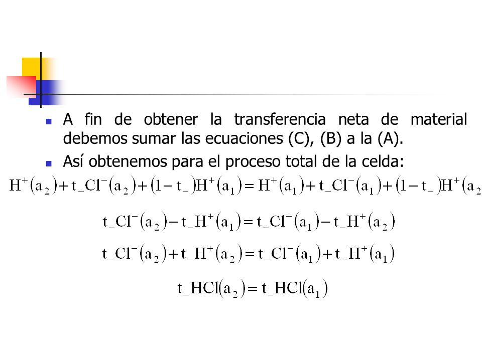 A fin de obtener la transferencia neta de material debemos sumar las ecuaciones (C), (B) a la (A). Así obtenemos para el proceso total de la celda: